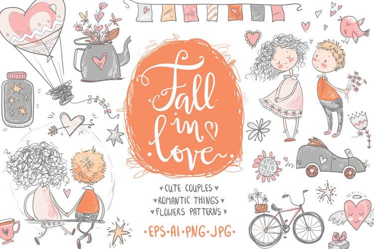Fall in love, ROMANTIC graphic KIT