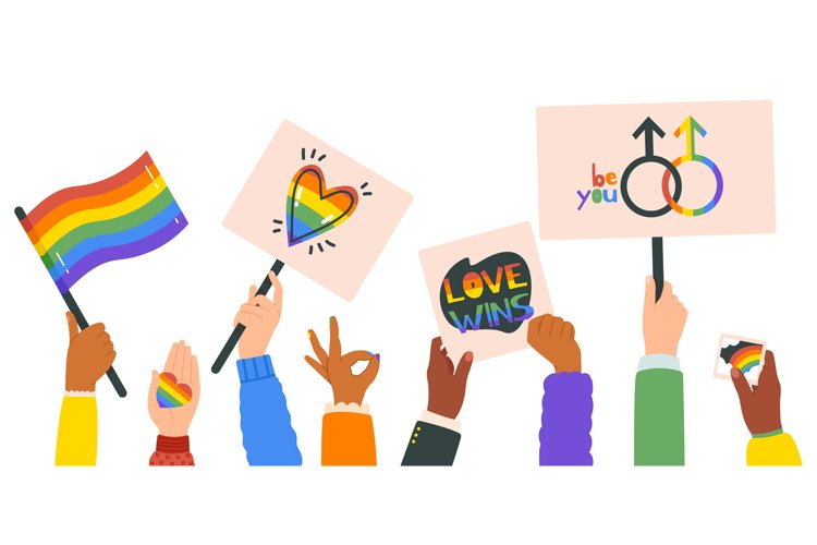 Hands holding lgbt posters. People crowd with rainbow flag, example image 1