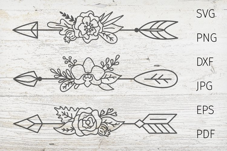 Arrow svg cut files. Boho arrow, dividers svg, flower arrow. example image 1
