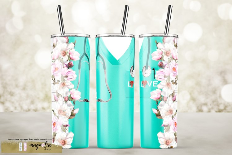 Nurse tumbler wrap png sublimatiion design example image 1