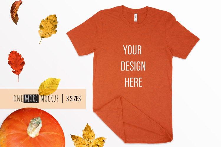 Fall T-Shirt Mockup I Bella Canvas 3001 Heather Autumn example image 1