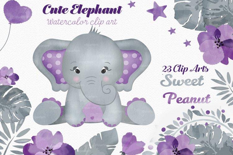 Purple elephant watercolor clip art bundle PNG, floral crown example image 1