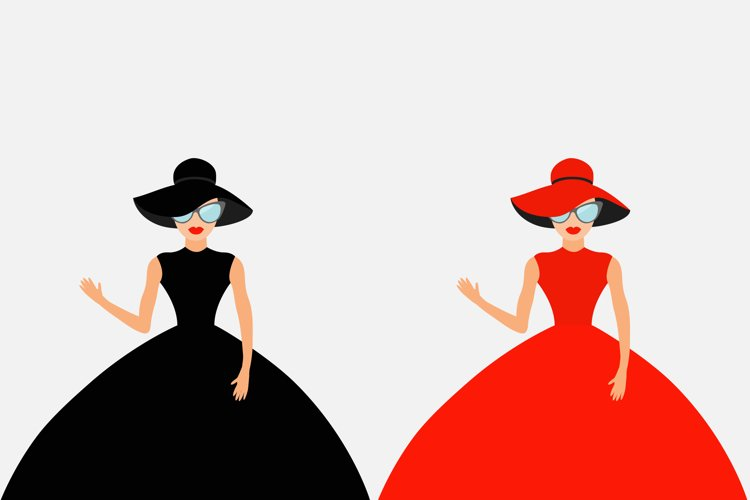 Woman in black and red dress, hat example image 1