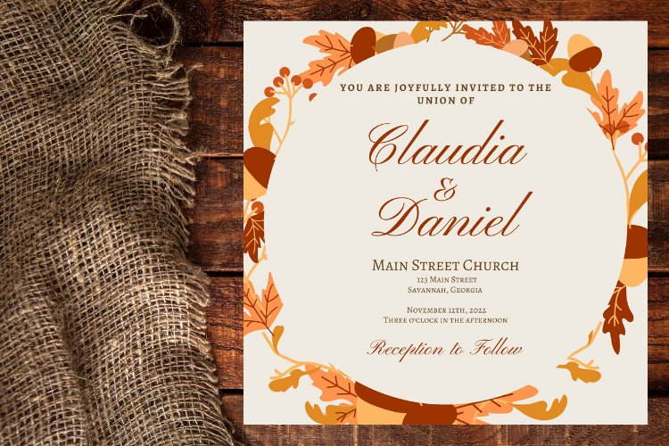 Autumn Wreath Wedding Invitation example image 1