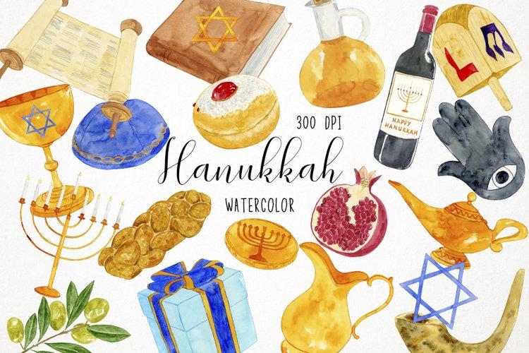 Watercolor Hanukkah Clipart, Chanukkah Clipart example image 1