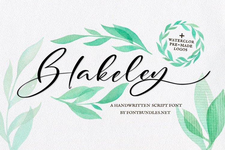 Web Font Blakeley Script Font & Watercolor Logos example image 1