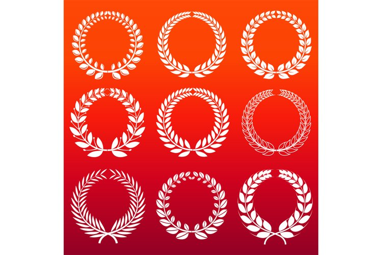 Laurel wreaths set - white decorative winners wreath example image 1