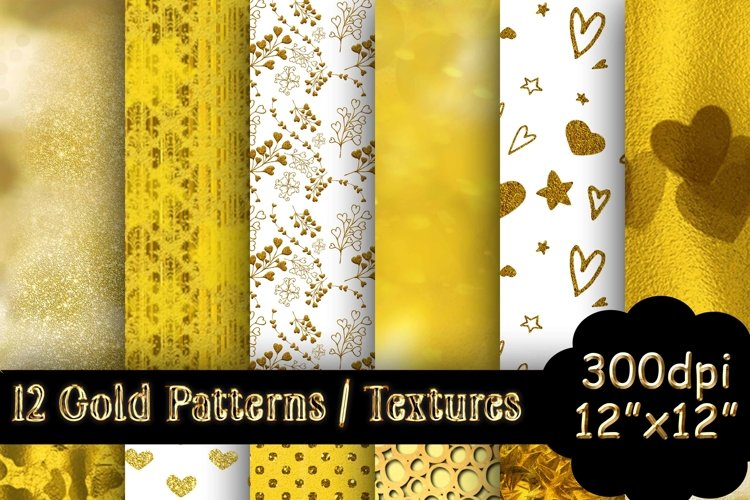 12 Gold Patterns / Textures / Backgrounds example image 1