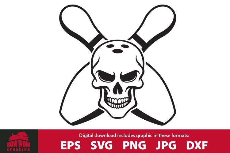 Skull and Cross Pins Bowling SVG Cutting File and Clipart example image 1