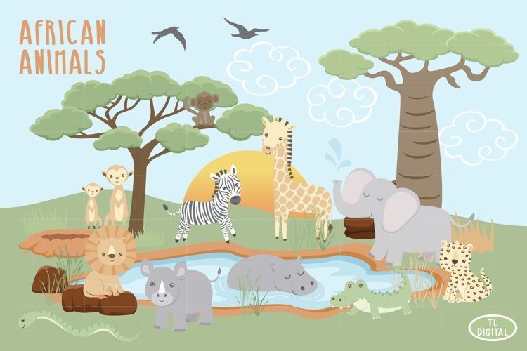 African Animal Clipart - Savannah Graphics- 35 PNG Graphics example image 1