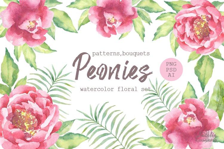 Watercolor Peonies set example image 1