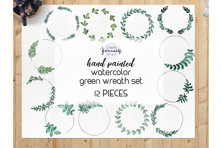 Watercolor wreath clipart set - green wreath clipart example image 1