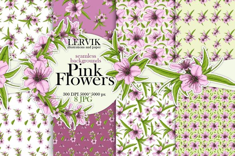Pink flowers digetal paper. Pattern of flowers in peach. example image 1