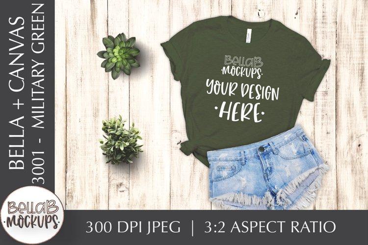Bella Canvas 3001 Woman's T Shirt Mockup, Military Green example image 1