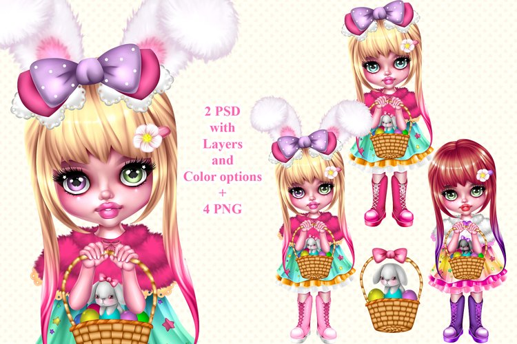 Easter spring girl with bunny example image 1