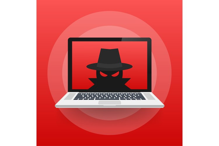 Spyware, Internet technology. Stop sign, Web icon. Danger example image 1
