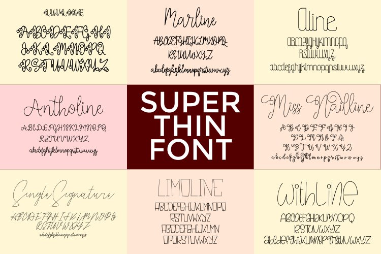Bundle Super Thin Font example image 1
