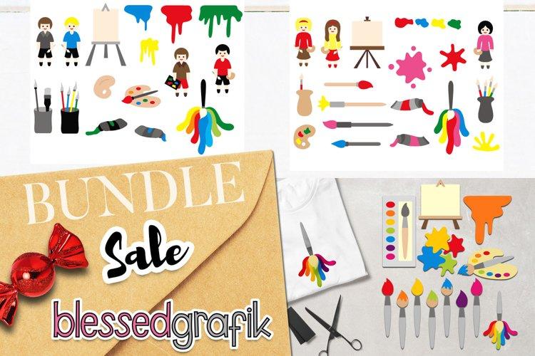 Art painting supplies clip art illustrations bundle