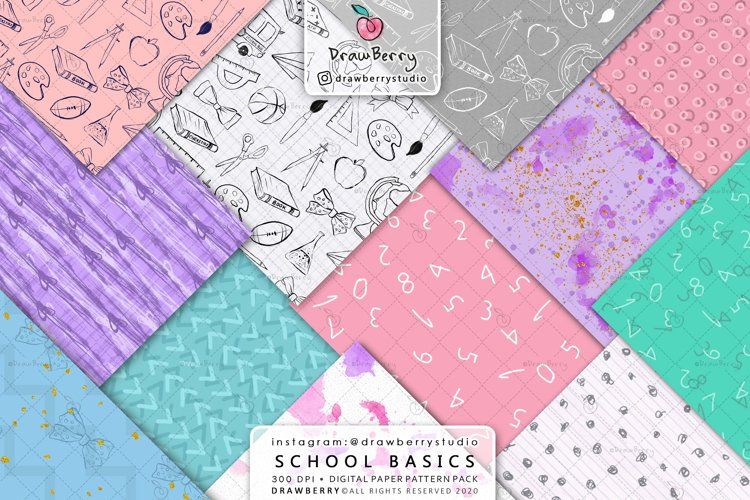 Back To School Basic Digital Patterns example image 1