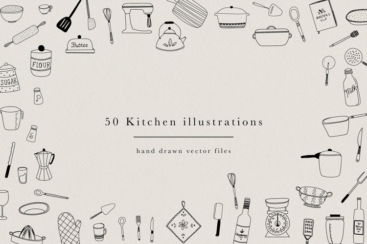 Kitchen Hand Drawn Illustrations Utensils Pots Pans Clipart example image 1