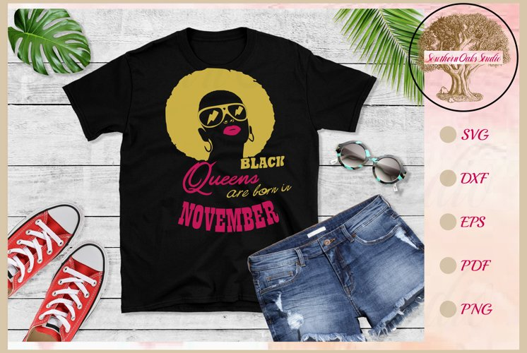 Black queens are born in November birthday t shirt design example image 1