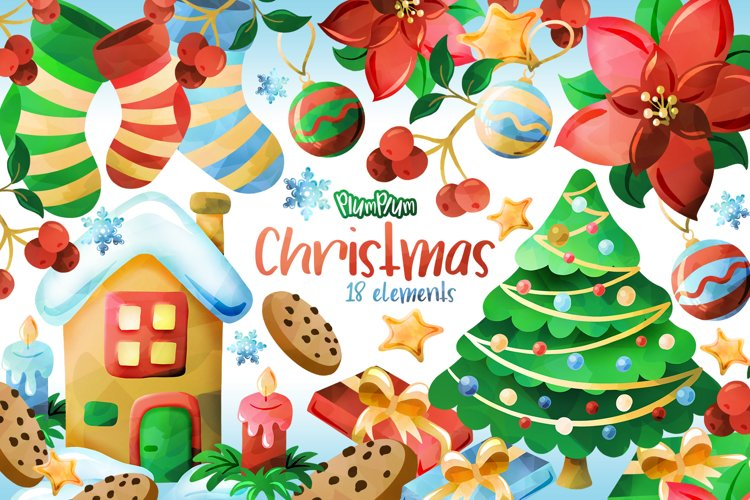 Christmas Watercolor Cliparts example image 1