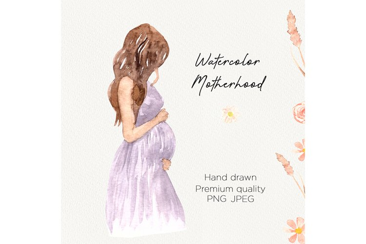 Watercolor Maternity clipart, Pregnancy woman in dress example image 1
