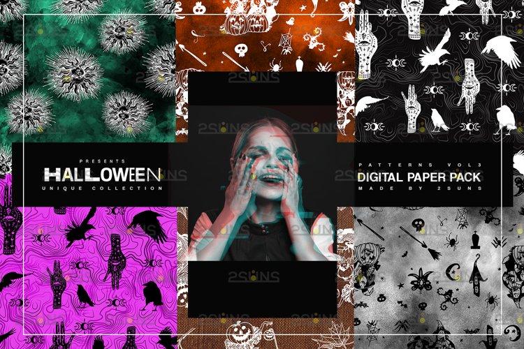 Halloween Digital Paper, Halloween Horror Witch Skulls Ghost example image 1