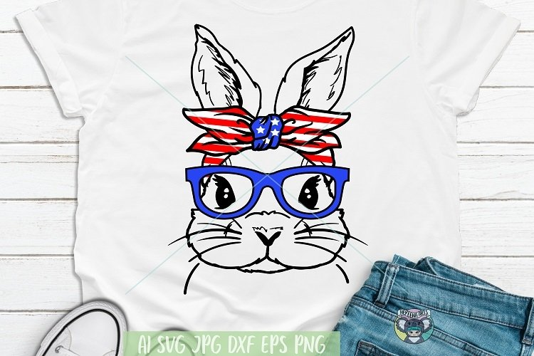 4th of July svg, Bunny svg, Files for Cricut, Cut File, dxf example image 1