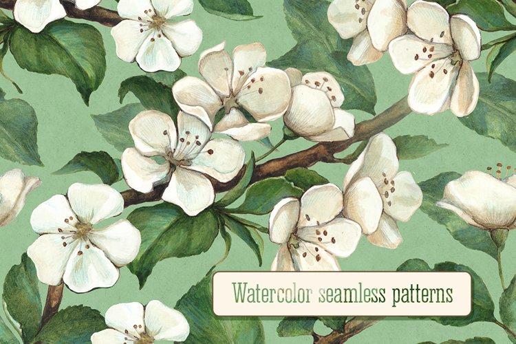 Illustrations of apple flowers. Seamless pattern design example image 1