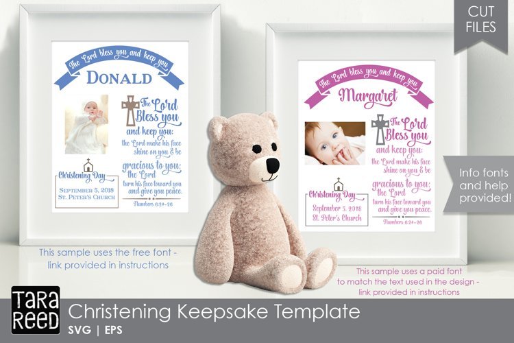 Christening Keepsake Template - SVG & Cut Files for Crafters example image 1