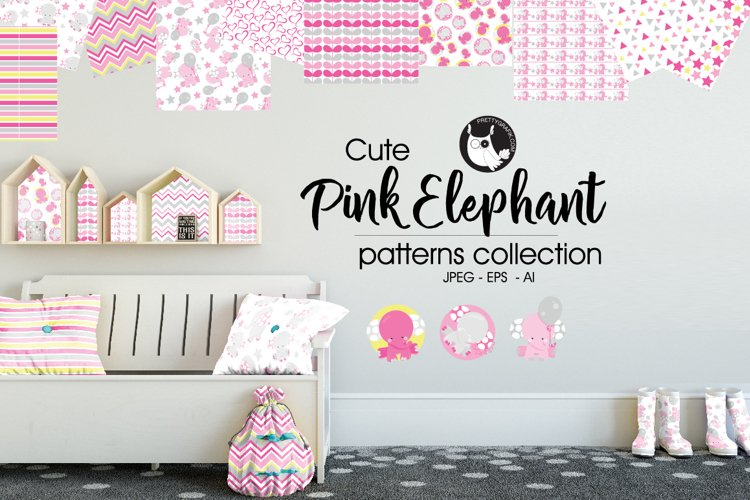 Pink elephant Patterns collection, digital papers example image 1
