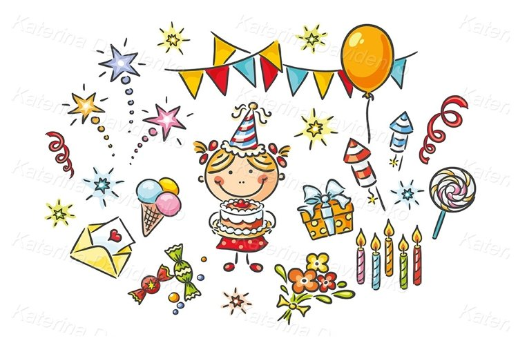 Little girl having birthday plus a lot of party things example image 1