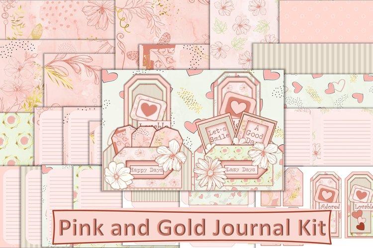 Printable Pink and Gold Modern Junk Journal Kit