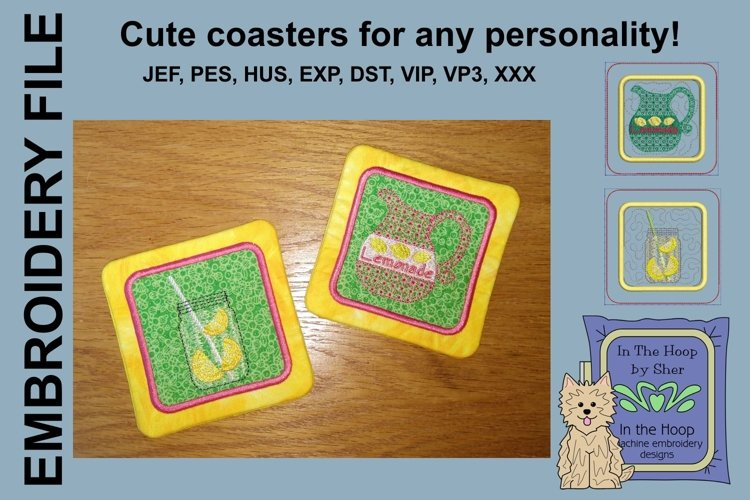 ITH Lemonade Coasters - 4 x 4 and 5 x 7 Hoops example image 1