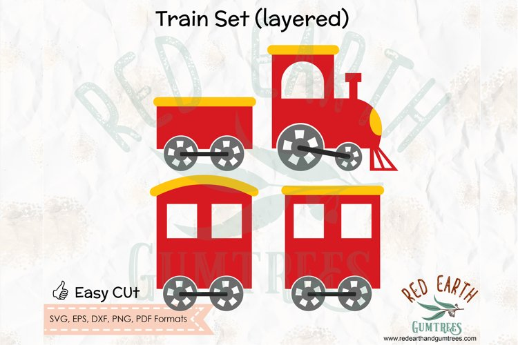 Layered train set, train carriage in SVG,DXF,PNG,EPS,PDF