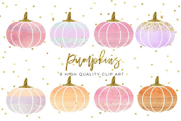 WATERCOLOR pumpkin clip art, Orange Pumpkin digital clipart, Pink Pumpkin clipart, Fall Pumpkin digital clip art, Watercolor Pastel Pumpkins example image 1