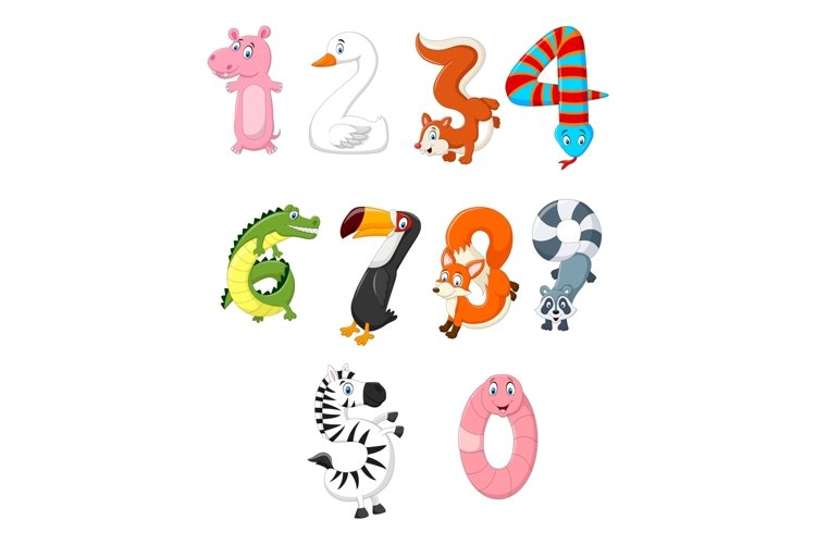 Animal Number Character Bundle example image 1
