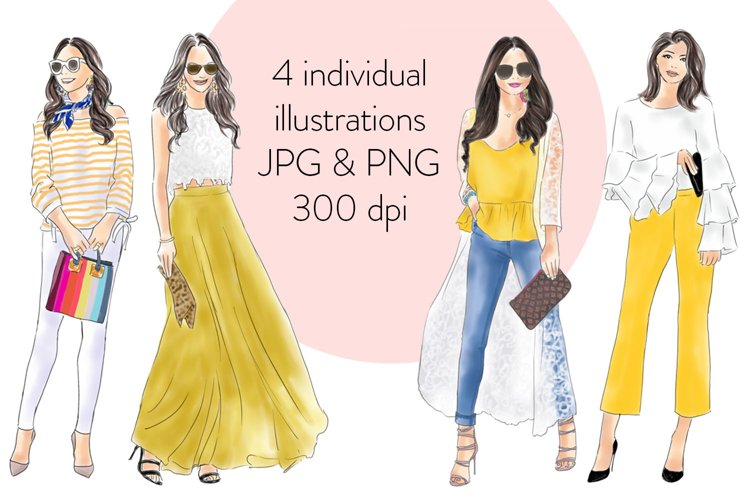 Girls in yellow watercolour fashion illustration clipart example 2