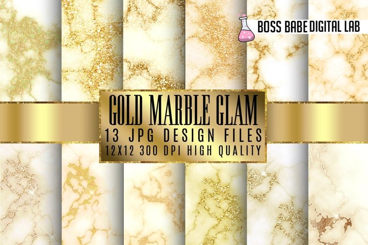 Gold Glam marble digital paper example image 1
