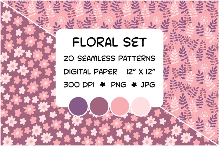 Pink floral set - seamless patterns - digital paper