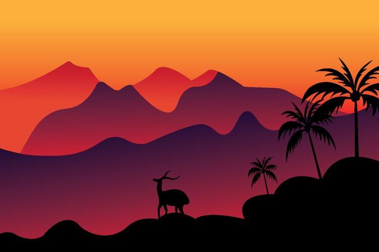 mountain sunset landscape vector illustration