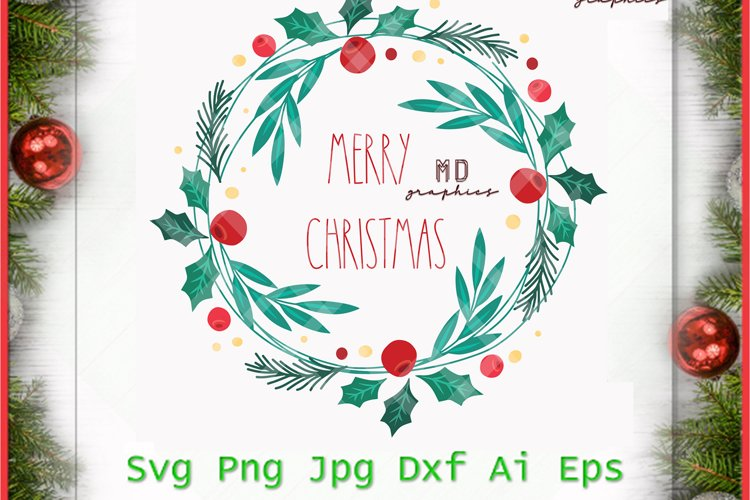 Christmas Wreath, Merry Christmas Wreath, Merry Christmas example image 1