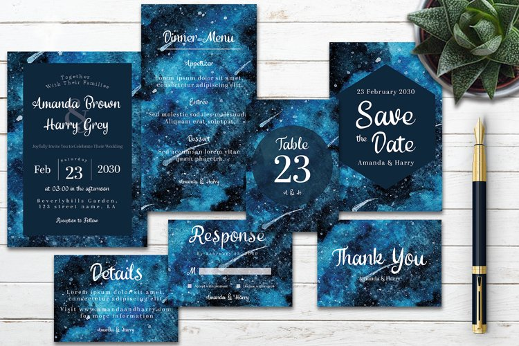 Abstract Blue Galaxy Space Watercolor Wedding Invitation Set example image 1