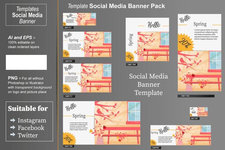 Template - Social Media Banner- Hello Spring