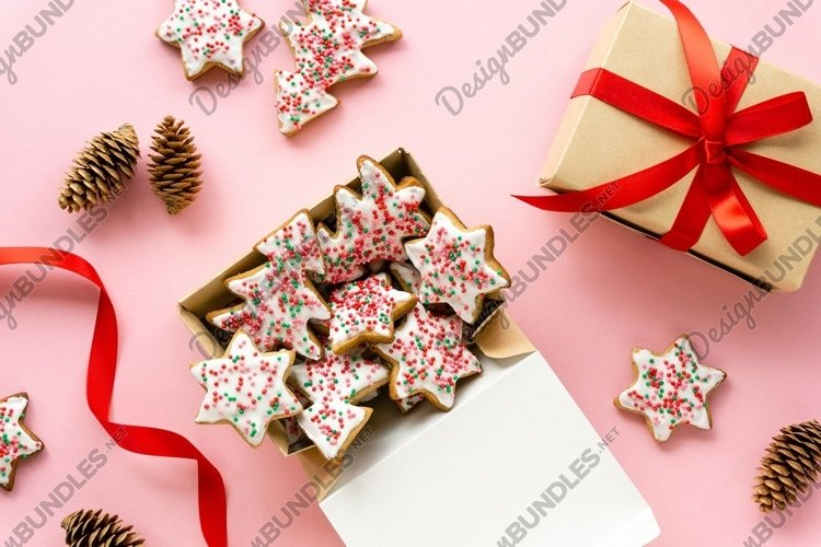 Homemade christmas gingerbread cookies in box example image 1