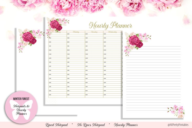 Beautiful Floral Digital Notepads and Hourly Planner example image 1