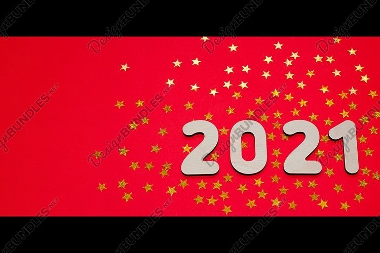 Golden stars and New year number 2021 on red background.