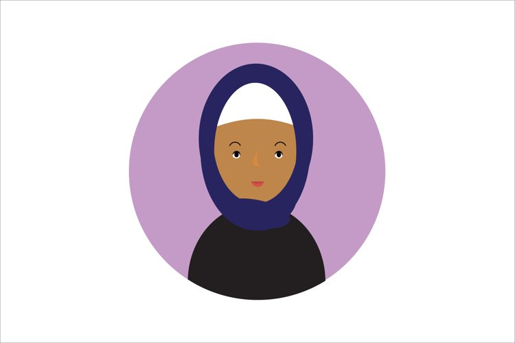 Icon Character Female with Navy Hijab example image 1