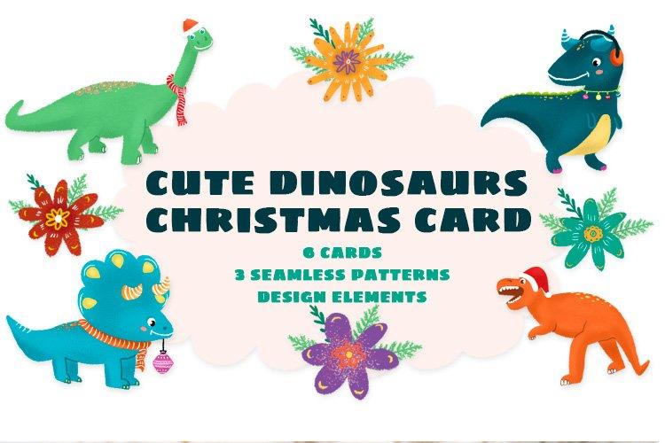 Cute dinosaurs christmas card example image 1